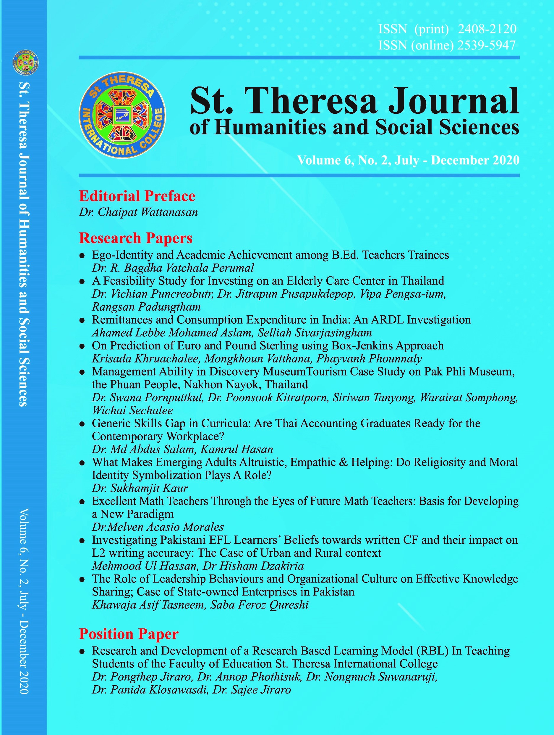 View Vol. 6 No. 2 (2020): St. Theresa Journal of Humanities and Social Sciences